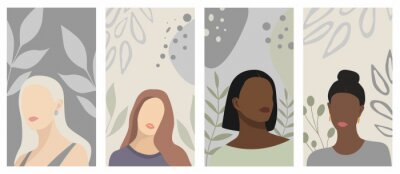 Papiers peints Set of backgrounds with abstract woman portraits. Ideal for social media platforms (posters, banners, stories). Beautiful female silhouettes, leaves, abstract shapes. Pastel colors. Vector flat design