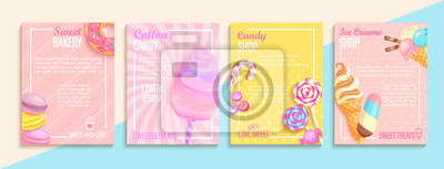 Papiers peints Set of bakery,candy,cotton candy,ice cream flyers,banners.Collection of pages for kids menu,caffee,posters.Macaroons,donuts, lollipop shop cards, cafeteris advertise.Template vector illustration.