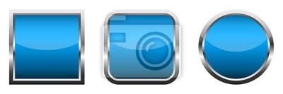 Papiers peints Set of blue glossy buttons. Vector illustration.