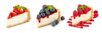 Papiers peints Set of cheesecakes with fresh berries and mint