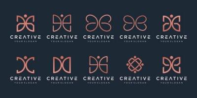 Papiers peints set of creative abstract monogram logo design.