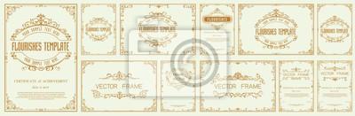 Papiers peints Set of Decorative vintage frames and borders set,Gold photo frame with corner