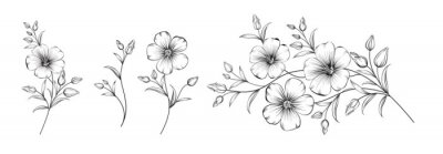 Papiers peints Set of differents flower linen on white background.