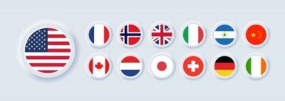 Papiers peints Set of flag icon. United States, Italy, China, France, Canada, Japan, Ireland, Kingdom, Nicaragua, Norway, Switzerland, Netherlands. Round icons flags. Neumorphic UI UX user interface. Neumorphism
