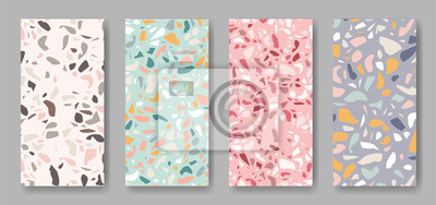 set of four abstract  vertical  banners with terrazzo ornament in different colors