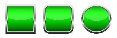 Papiers peints Set of green glossy buttons. Vector illustration.