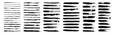 Papiers peints set of grunge black paint, ink brush strokes. brush collection isolated on white background. Trendy brush stroke for black ink paint,grunge backdrop, dirt banner,watercolor design and dirty texture.