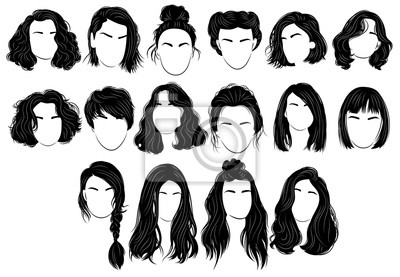 Papiers peints Set of hairstyles for women. Collection of black silhouettes of hairstyles for girls. Fashionable hairstyles.