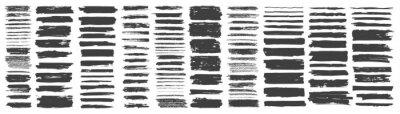 Papiers peints Set of hand drawn grunge black brush strokes, isolated on white background.