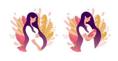Papiers peints Set of illustrations about pregnancy and motherhood. Pregnant woman with tummy on a background of leaves. Girl with a newborn baby on a natural background. Flat stock vector illustration isolated on a