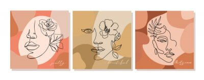 Papiers peints Set of  illustrations with one line continuous woman face and leaves. Abstract contemporary collage with geometric shapes. Design templates for covers, t-Shirt print, postcard, banner etc. Vector.