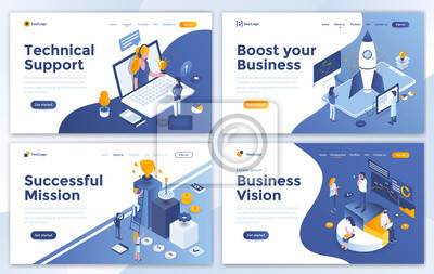 Papiers peints Set of Landing page design templates for Technical Support, Boost your Business, Successful Mission and Business Vision. Easy to edit and customize. Modern Vector illustration concepts for websites
