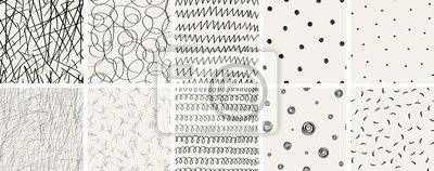 Papiers peints Set of seamless abstract hand-drawn patterns. Vector modern creative backgrounds for your design