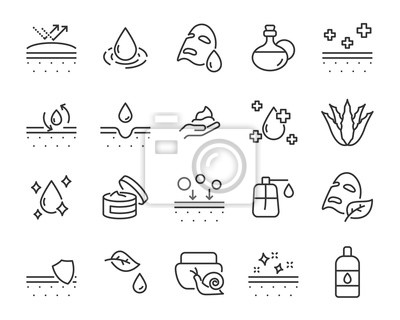 Papiers peints set of skin icons, such as aloevera, oil, nature, sun protect, dry, lotion