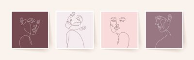 Papiers peints Set of stylized woman faces. Modern single line art. Woman beauty fashion concept, minimalistic style.