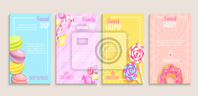 Papiers peints Set of sweet, candy and bakery shops flyers,banners.Collection of pages for kids menu,caffee,posters.Pastry,macaroons and donuts, lollipop shop cards, cafeteris advertise.Template vector illustration.