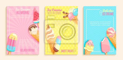 Papiers peints Set of sweet ice cream shops flyers,banners on vintage background.Collection of pages for kids menu,caffee,posters. cards, cafeteris advertise.Template vector illustration.