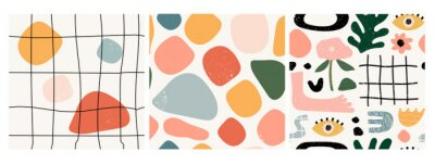 Papiers peints Set of three seamless patterns. Hand drawn various shapes and doodle objects. Abstract contemporary modern trendy vector illustration. Stamp texture. Every pattern is isolated