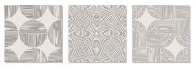 Papiers peints Set of trendy minimalist seamless pattern with abstract hand drawn composition