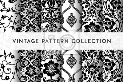 Papiers peints Set of Vector seamless damask patterns. Rich ornament, old Damascus style pattern for wallpapers, textile, packaging, design of luxury products - Vector Illustration