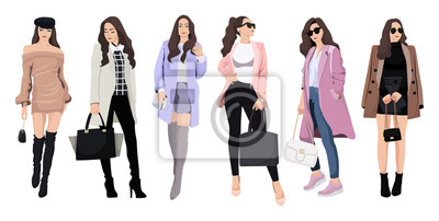 Papiers peints Set of women dressed in stylish trendy clothes