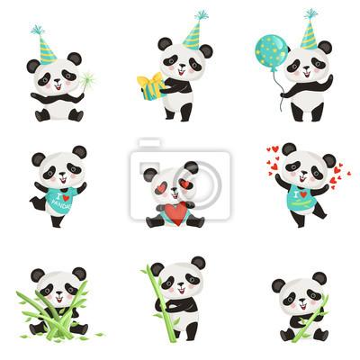 Papiers Peints Set Vector Plat De Drôle Petit Panda Dans Diverses Situations
