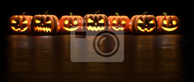 Papiers peints Seven Halloween Pumpkin glowing faces in a row isolated on black background. 3D Rendering illustration