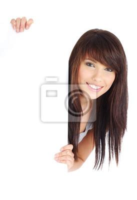 Sexy girl tenant un panneau blanc.