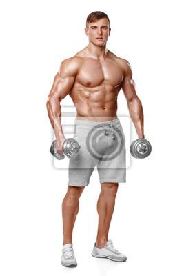 Papiers peints Sexy homme athlétique montrant le corps musclé avec des  haltères 0cd35b7f9c0