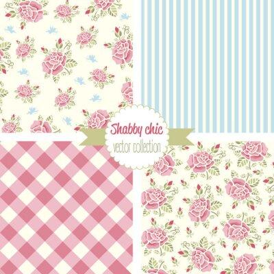 Shabby Chic Rose motifs. Définir un modèle transparent. Motif floral vintage, arrière-plans. Illustration vectorielle