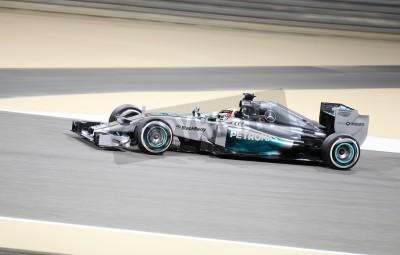 Papiers peints SHAKIR, BAHREIN - AVRIL 04: Lewis Hamilton de Mercedes course lors de la session de pratique, le vendredi 04 Avril 2014, la Formule 1 Gulf Air Bahrain Grand Prix 2014