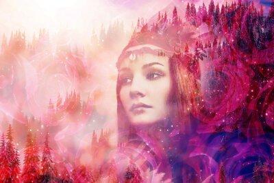 Papiers peints Shaman woman in winter landscape, artist collage.