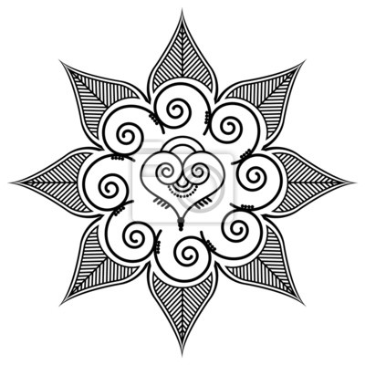 Shape with leaves and heart shape in the middle by henna tattoo