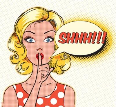 Papiers peints Shhh bulle. Pin up femme mettant son index sur ses lèvres pour un silence silencieux. Style de bande dessinée d'art de bruit. Illustration vectorielle