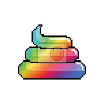 Papiers Peints Shit Unicorn Pixel Art Arc En Ciel Turd Pixellisé Poop Isolé