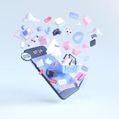 Papiers peints Shopping on-line. Online store on website or mobile application. 3d rendering background. digital marketing shop