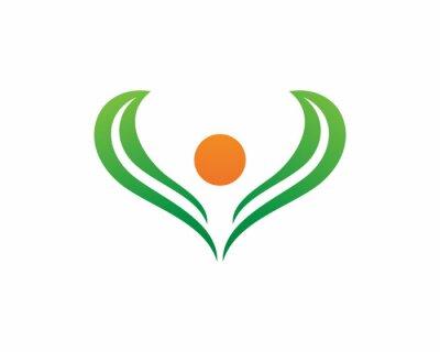Signe de logo de caractère humain, logo de la santé. Signe de logo de nature. Signe de la vie verte logo
