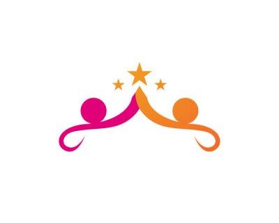 Signe de logo de caractère humain, logo de soins de santé. Signe de logo de la nature.