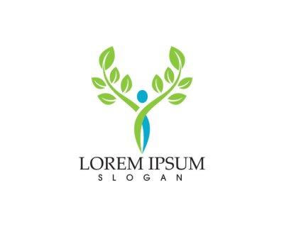 Signe de logo de caractère humain, logo de soins de santé. Signe de logo de la nature. Signe de logo vie verte.