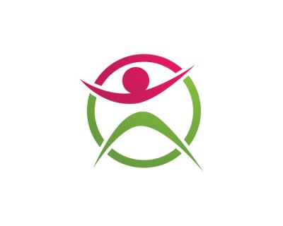 Signe de logo de caractère humain, logo de soins de santé. Signe de logo de la nature. Signe de logo vie verte,
