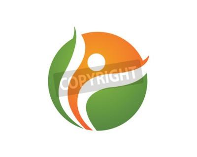 Signe de logo de caractère humain Signe de logo de soins de santé. Signe de logo de nature. Signe de la vie verte logo. Modèle de logo vectoriel.