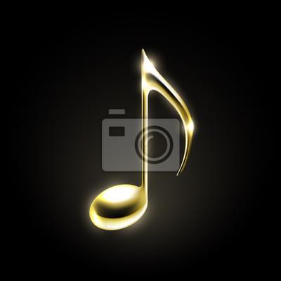 Signe métallique doré de note de musique.