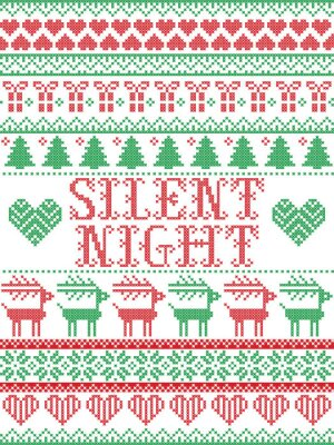 Silent Night Christmas vector pattern with Scandinavian Nordic festive winter pattern in cross stitch with heart, snowflake, Christmas tree, reindeer, forest, star, snowflakes in white,red, green