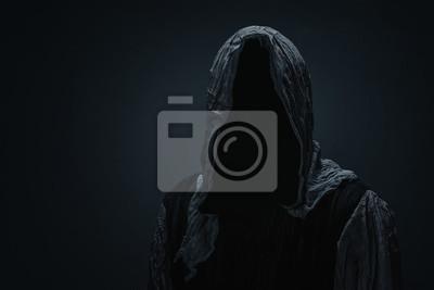 Papiers peints Silhouette de Grim Reaper sur fond gris foncé avec espace de copie