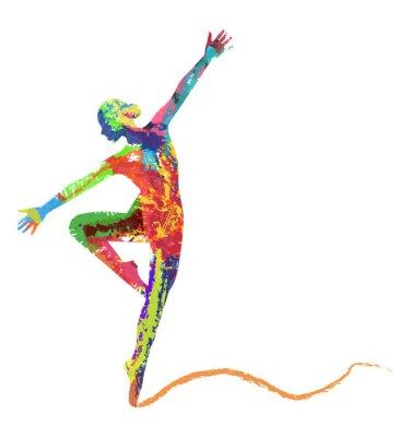 Papiers peints silhouette di ballerine composta da colori