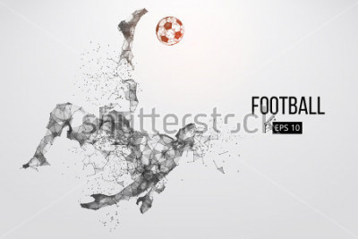 Papiers peints Silhouette of a football player. Dots, lines, triangles, text, color effects and background on a separate layers, color can be changed in one click. Vector illustration