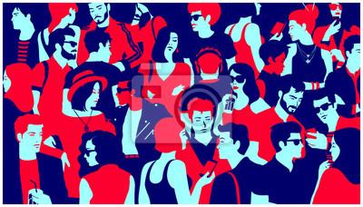 Papiers peints Silhouette stylisée de la foule des gens, groupe mixte occasionnel de jeunes adultes, sortir, discuter ou boire se sont réunis pour un événement de la vie nocturne, illustration vectorielle de simple