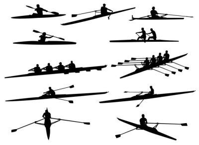 Papiers peints silhouettes d'aviron - vecteur