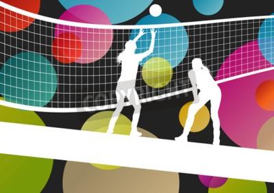 Papiers peints silhouettes des joueurs de volley-ball dans le sport abstract vector background illustration