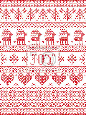 Simple Joy Christmas pattern with Scandinavian  Nordic festive winter pasterns in cross stitch with heart, snowflake, snow, Christmas tree, reindeer, forest, star, snowflakes in white,red